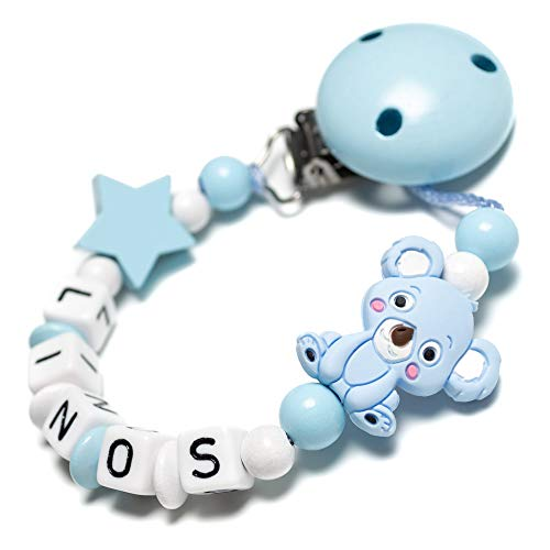 Schnullerkette mit Namen - Koala, Stern, Silikon, Hexagon für Mädchen und Jungen - viele farben (blau, stern)