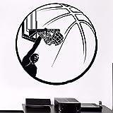 Tianpengyuanshuai Baloncesto Etiqueta de la Pared Baloncesto Calcomanía de Pared Universal Ventilador Deportivo Pared Extraíble Personas Vinilo Calcomanía de Pared 63X63cm