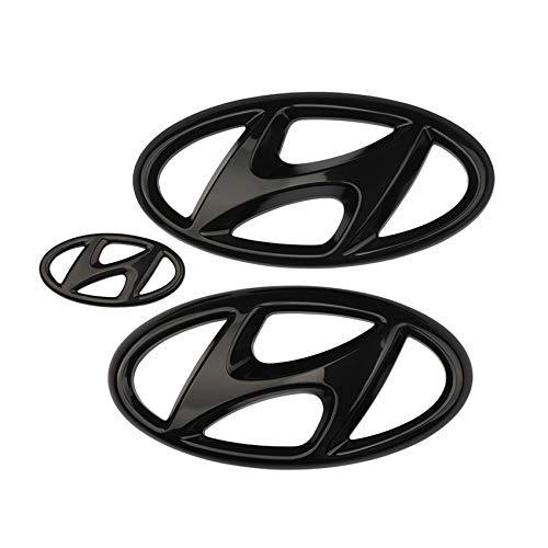 Z&HX Emblem Aufkleber Kühlergrill Kofferraum Lenkrad Auto Styling Sticker für 2016-2020 Hyundai Elantra Embleme Set,Schwarz,2016to2018