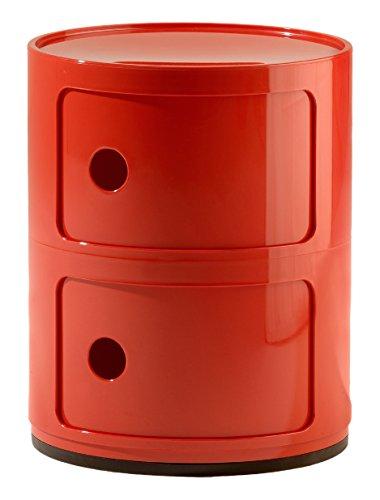 Kartell Componibili Contenitore 2 Elementi, Base Tonda, ABS, Rosso, 32 x 32 x 40 cm