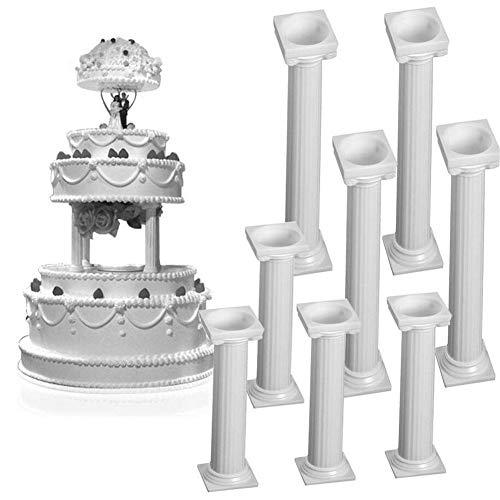 Faneli - Juego de 8 Piezas de columnas Blancas pequeñas y Grandes de plástico, Columna Romana, Soporte para Cupcakes, Cookies, columnas, San Valentín, Boda, cumpleaños, decoración