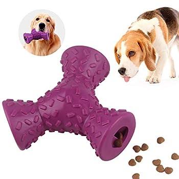 Mekeet Jouet à mâcher pour chiens, friandises et friandises en caoutchouc pour chiot, nettoyage des dents de chiot, jouets à mâcher indestructibles pour chiens de grande taille et moyenne (violet)