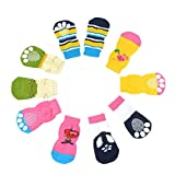Ogquaton 4 calcetines para mascotas, perros, gatos, cachorros, coloridos, antideslizantes, suministros de productos para mascotas, prácticos y populares