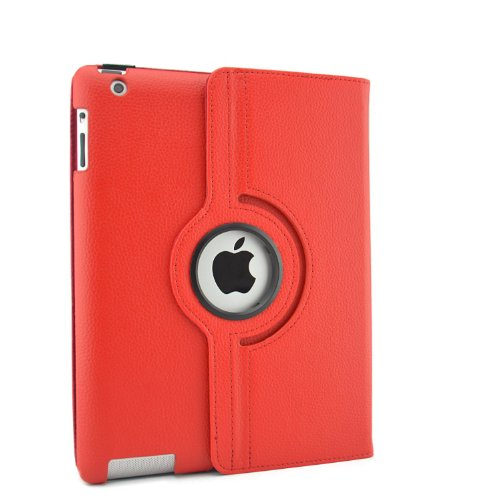 inShang Premium PU Leather Case for iPad 2/3/4 Multi-Function PU Leather Stand/Case/Cover for, with sleep wake compatibility red FOR IPAD2/3/4