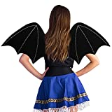 Lulu Home Halloween Costume Accessory Bat Wings with Elastic Straps,Black,One Size