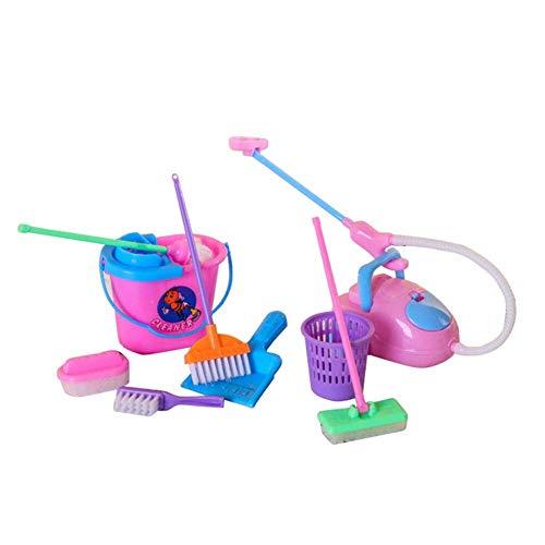 Fliyeong Rollenspiel, 9 Teile/Satz Rollenspiel Besen Staubsauger Reinigungsset Spielzeug Puppenhaus Zubehör Hohe Qualität