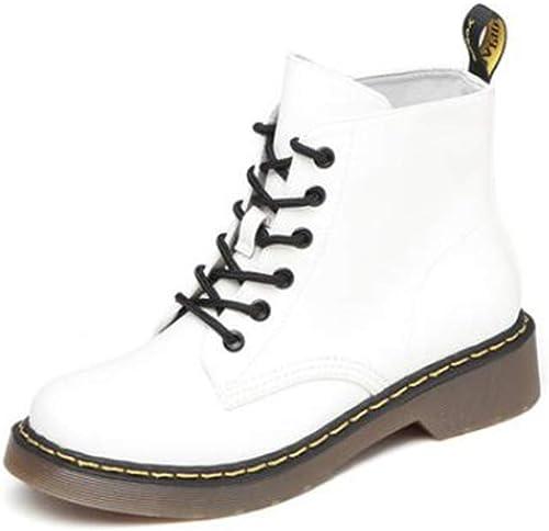 LF zapatos universitarios de tacón bajo de otoño e Invierno botas Martin de Cabeza rojoonda (Color   blanco, Talla   EU36 UK3.5 CN35)