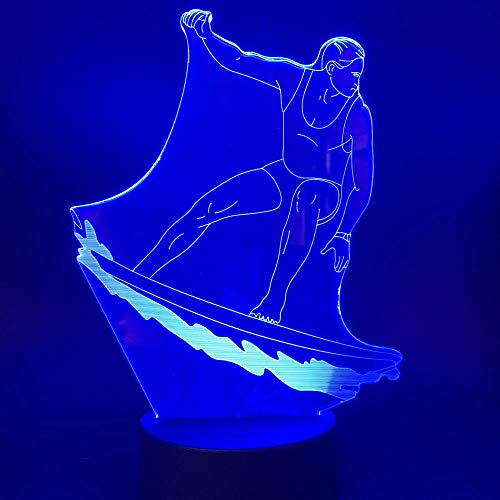 Only 1 Piece 3D Surfing Lamp Visual Light Effece Night Lights Led Adult Gift Live Room Night Light Led 7/16 Colors Changing Night Lights Lamp