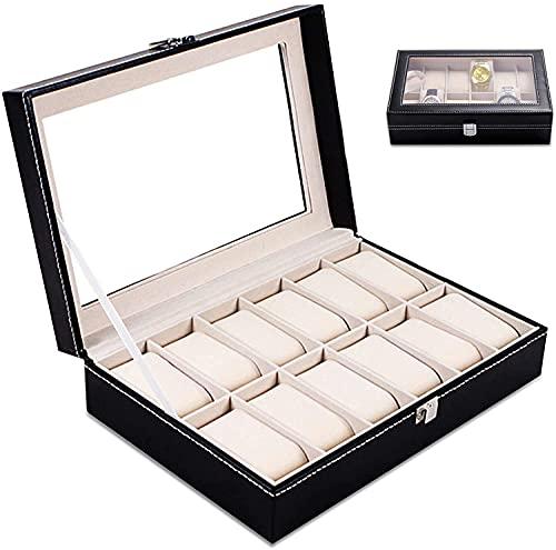 Boîte à montres,Coffret à Montres,Rangement pour montres avec 12 Compartiments Montres Boîte,Boîte à Montre Couvercle avec miroir,Présentoir à montres avec Coussins détachables(30*20*8cm)