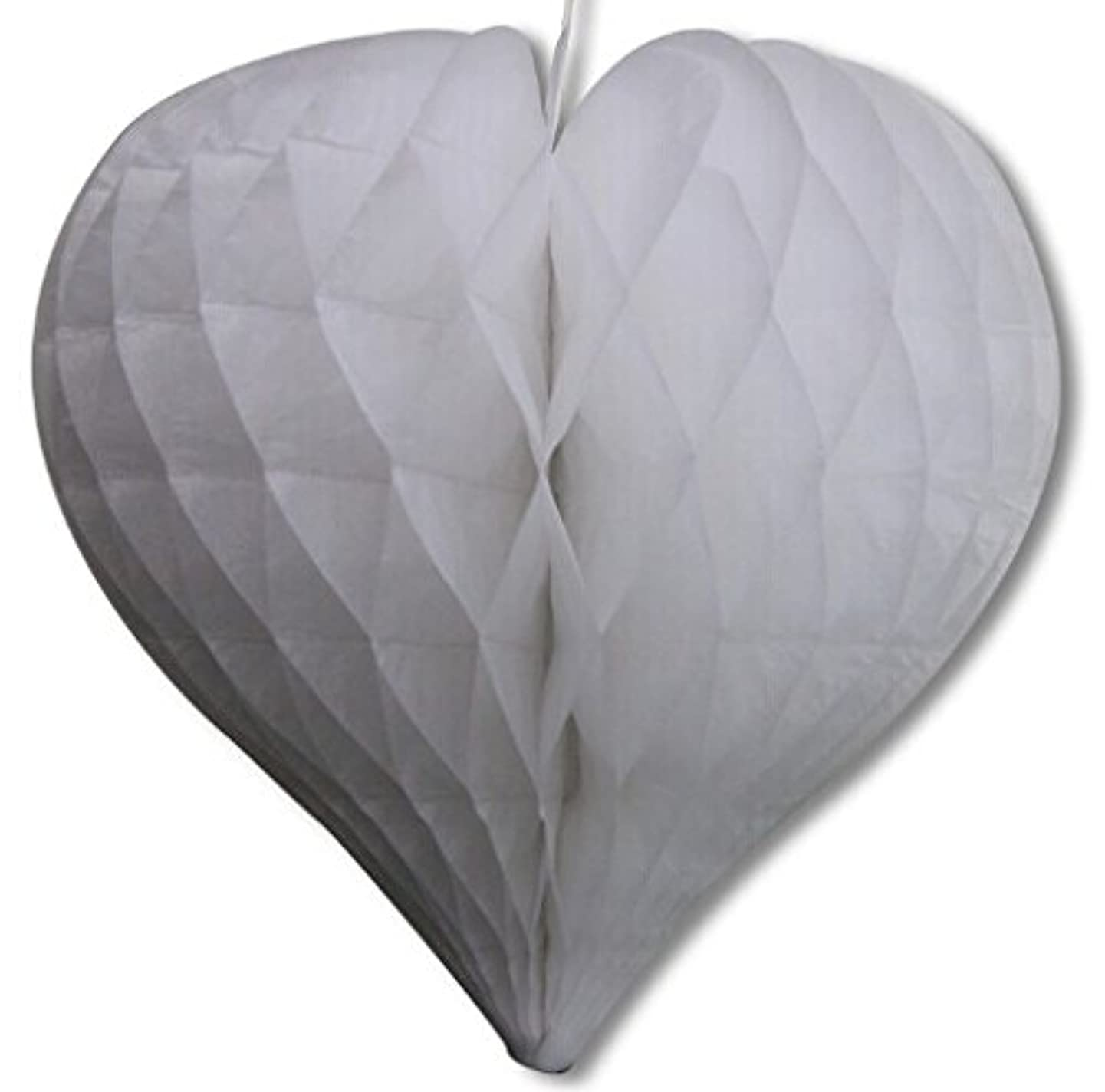 Matissa Pack of 3 Valentines Decoration Heart Shaped Paper Honeycomb Birthday Party Wedding Available in 11 Colours 3 Sizes (All White, 8