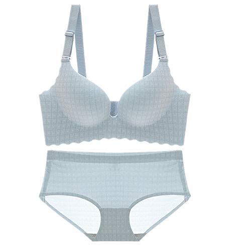 N\P Sujetador sin marcas, sin anillo de acero, sujetador pequeño con leche, conjunto de ropa interior para mujer azul 90B