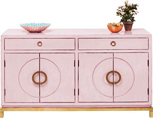 Kare Design Sideboard Disk Pink, rosane, breite Kommode, Schrank mit 2 Doppeltüren und 2 Schubladen für Wohnzimmer, pinkes Vintage TV Sideboard, (H/B/T) 84x150x50cm