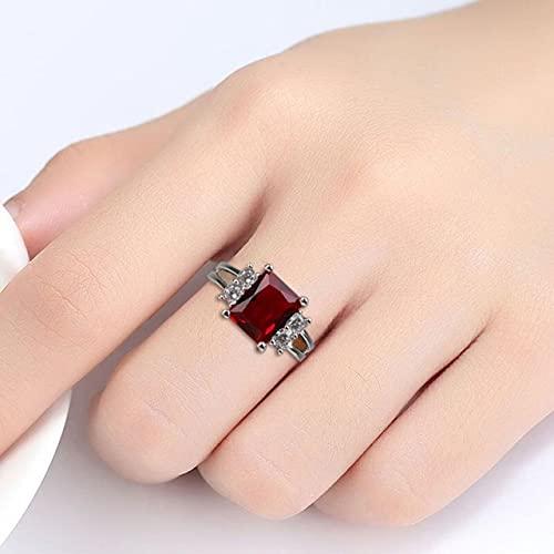 DJMJHG Anillos de Plata de Ley 925 para Mujer con Piedras Preciosas de rubí cuadradas Regalo de Fiesta para Mujer Tamaño 6-10 8