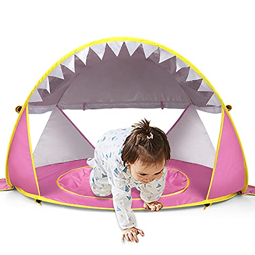 Free Swimming Baby Pop Up Baby Beach Tent with Pool,Portable Shark Sun Shelter Tent with UPF UV 50+ Protection for Toddler Aged 3-72 Months (Pink)