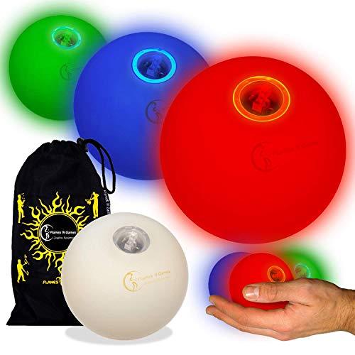 3X Glow Jonglierbälle Leuchtend, LED Jonglierbälle 3er Set - Profi LED bälle+ Reisetasche! schnell