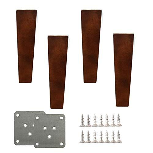 ZTMN massief houten meubelpoten, eiken bankvoeten, walnoot kleur vierkante tafelpoten, voor kabinet Vanity stoel dressoir vervanging benen, Hardware onderdelen, Set van 4 (6inch/15cm)