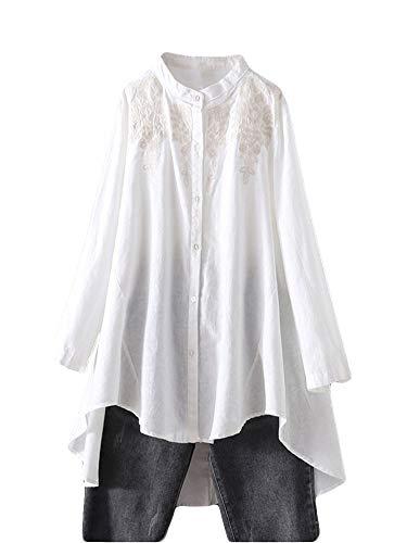 FTCayanz Damen Leinen Bluse Shirt Langarm Stickerei Hemd Elegant Langarmshirt Lang Tunika Tops Weiß L