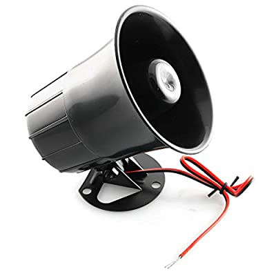 PSCCO DC 12V Siren Horn Wired Outdoor Alarm Loud Horn Sound Siren for Home Alarm System Security and Protection