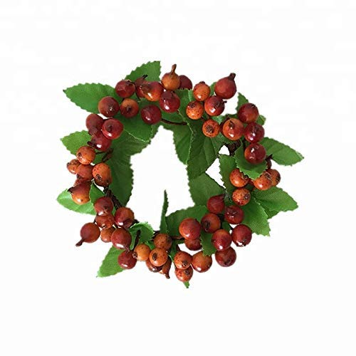 HAILAN Berry Candle Ring, 5pcs Craft Plump Red Berry Candle or Napkin Rings with Holly Leaves on Natural Twig Base for Home, Wedding, Living Room and Bedroom Decor