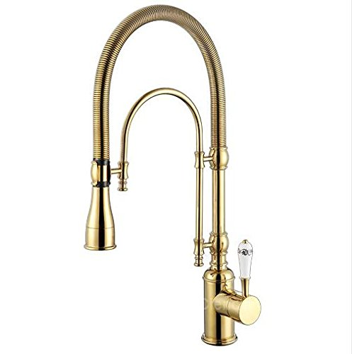 Kitchen Faucet Luxury 3 Type Rose Gold Kitchen Faucet Single Handle Cold&Hot Water Tap Brass Deck Mounted Faucet with Ceramic Handle