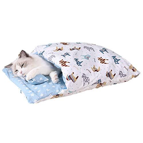 Minear Katzenbettmatte, Selbsterwärmendes Katzenhöhlenbett, Abnehmbarer Waschbarer Haustierschlafsack, Warmes Katzenbett Für Wandercamping, Haustierbett Für Katzen Und Kleine Hunde