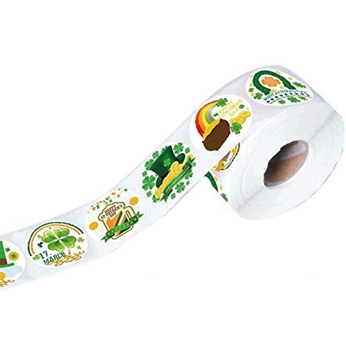 Moent Adhesivo para el día de San Patricio, colorido verde trébol de cuatro hojas de la suerte, para manualidades, decoración de festivales, fiestas, bodas (500 unidades por rollo)