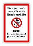 Kein Hundeklo Keine Hundetoilette (30 x 20cm) - Kunststoff Schild kacken verboten – Achtung...