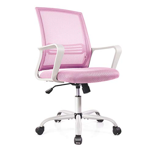 Office Chair Ergonomic Mesh Chair Computer Desk Chair Executive Home Office Chairs with Lumbar Support Armrest Rolling Swivel Adjustable Mid Back (Light Pink)