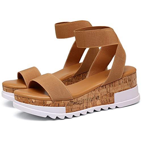 Katliu Women's Wedge Platform Sandals Elastic Ankle Strap Cork Platform Sandals