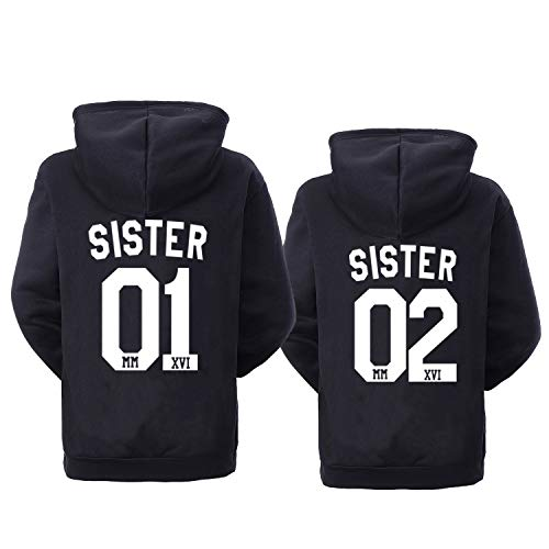 Soul Couple Best Friends Hoodies for 2 Girls BFF Pullover Sweater Sister Hoodies for 2 Black