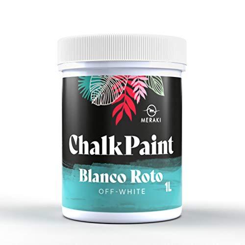 CHALK PAINT MERAKI Pintura efecto tiza al agua mate (1L, BLANCO ROTO)