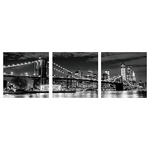 TIENDA EURASIA® Pack 3 Cuadros de Decoracion de Pared - Cuadros de Diseño en Fotoimpresión - Ideal para Decorar Cualquier Rincón del Hogar (Noche Ciudad - 50 x 50 x 2,5 cm)