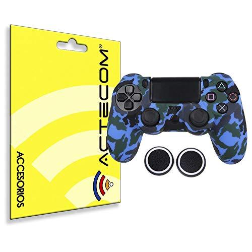 ACTECOM® Funda Carcasa + Grip Silicona Camuflaje Mando Sony PS4 Playstation 4 Camuflaje Azul