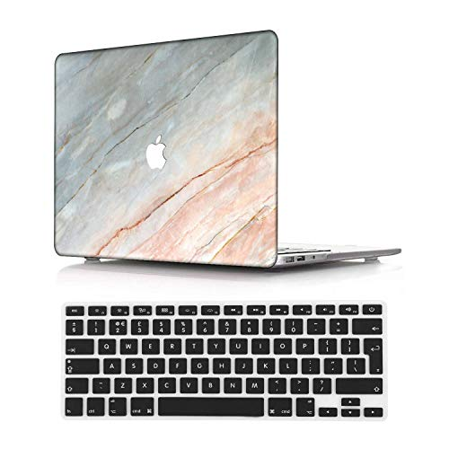 NEWCENT New MacBook Pro 15' Case,Plastic Ultra Slim Light Hard Case UK Keyboard Cover for Mac Pro 15 with Touch Bar 2016-2018 Release (Model:A1707/A1990),Marble A 253