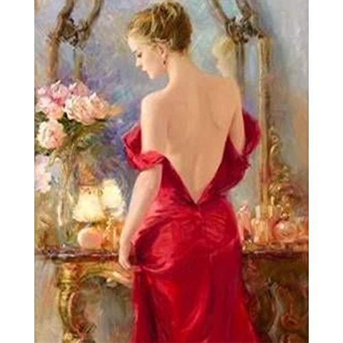 Pintar por Numeros Vestido Rojo Mujer DIY Pintura por Números para Adultos Niños Pintura por números con Pinceles y Pinturas - 16 * 20 Pulgadas, Sin Marco