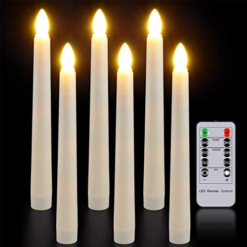LED Taper Candles with Remote Timer, Yme Set of 6 Battery Operated Window Candles Flickering Flameless Ivory Candlesticks for Home Christmas Party Decoration – Warm White