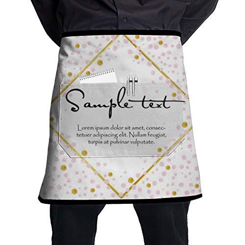 Cavdwa pinke halblange Schürze mit Tasche zum Kochen und Backen, handgefertigt, Gartenarbeit, Grill, 54 x 45 cm