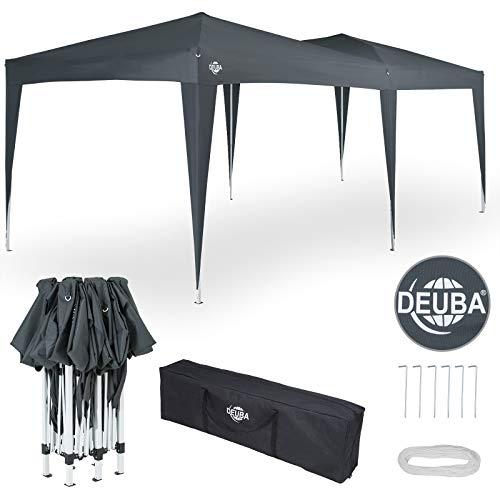 Deuba® Pavillon Capri 3x6m wasserabweisend Pop-Up inkl. Tasche UV-Schutz Faltpavillon Gartenzelt Partyzelt Anthrazit