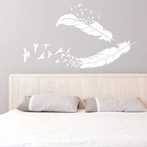 Pegatinas de pared con plumas de pájaros para el hogar, sala de estar, decoración moderna, calcomanía de pared, plumas voladoras, decoración de la naturaleza, A8, 57 x 32 cm