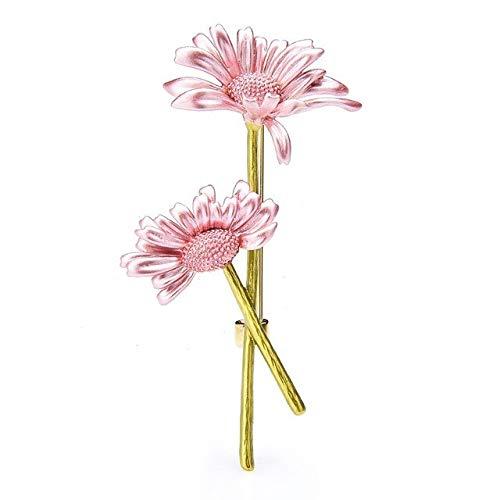 Broche de flores esmaltadas con margaritas para mujer, diseño de flores, color rosa
