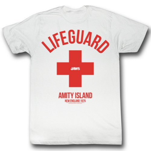 Jaws Officially Licensed Mens Lifeguard T-Shirt, White - S to XXL