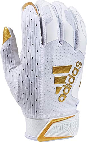 adidas Adizero Football Gloves, Large, White/Metalic Gold - Receivers Gloves with Added Grip