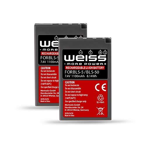 2x Olympus BLS-5 | BLS-50 Li-Ion Akku (7,4V 1100mAh) Kamera Akku für Olympus PEN E-PL2/E-PL3/E-PL5/E-PL6/E-PL7/E-PL8/E-PL9/E-P3 | E-PM1/E-PM2 | E-M10 Mark II III | Stylus 1/1s von Weiss - more power +