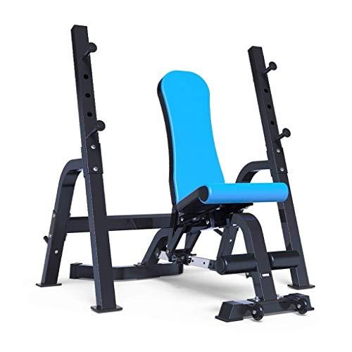 YSYYSH Einstellbare Hocker Multifunktionale Fitness Klappstuhl Bench Press Bauch Squat Rack-Haus Hantel Bank Bank Fitnessgeräte 147 × 74 × 50 Fitness Stuhl (Color : Blue, Size : 147 * 74 * 50cm)