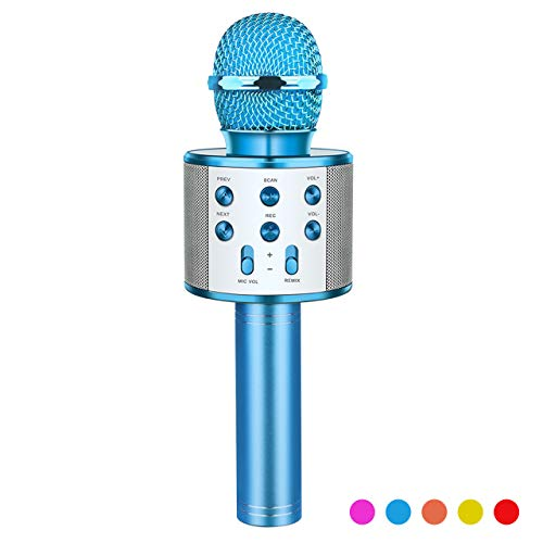 Toys for 3-12 Year Old Boys Girls, Fricon Portable Bluetooth Wireless Microphone Karaoke Machine with Speaker for Kids Age 5-10 Birthday for 3-12 Year Old Boys Girls (Blue)