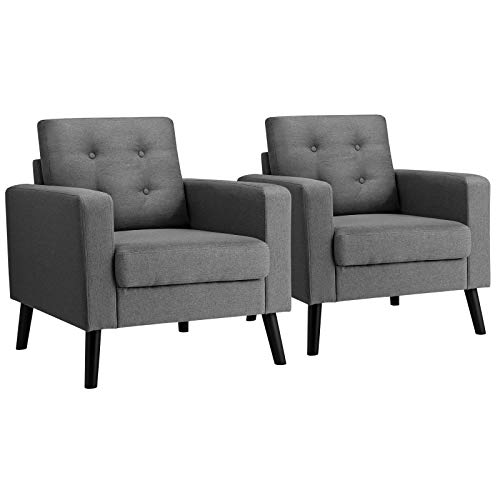 Giantex Set of 2 Modern Accent Chair, Mid-Century Upholstered Armchair Club Chair with Rubber Wood Legs, Linen Fabric Single Sofa for Living Room Bedroom Office (2, Grey)
