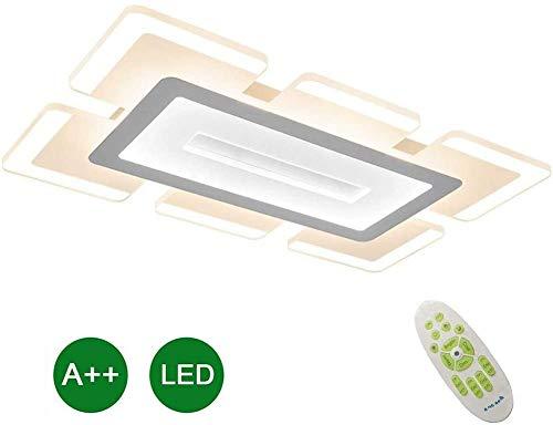 62W Plafondlamp Rechthoekige LED Inbouwlamp Minimalistisch Acryl Ultradunne Plafondlamp Moderne Hanglamp Voor Eetkamer Slaapkamer Binnenverlichting Dimbaar Gegrilde Verf Wit
