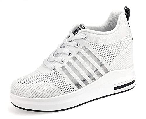 AONEGOLD Scarpe con Zeppa Donna Sneakers da Ginnastica Sportivo Running Outdoor Tennis Fitness Scarpe Casual 8.5cm (Bianco 35 EU)