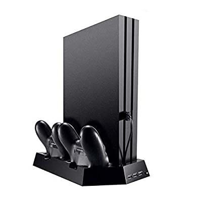 OSTENT Dual Controller Charger Cooling Fan USB Hub Vertical Stand for Sony PS4/Slim/Pro Console