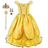Baterflyo Disfraz de princesa de tul amarillo con accesorios para disfraz de Halloween, carnaval, cosplay, fiesta